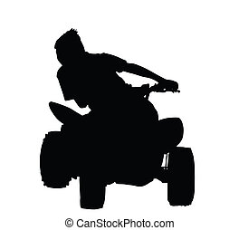 Boy Racing on Quad Bike Silhouette - Boy Racing on Quad Bike...