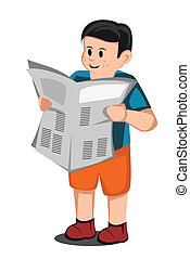 boy read a newspaper