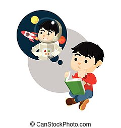 Boy read book wanna be astronaut