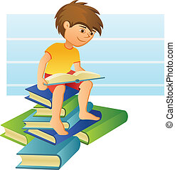 Boy Reading a Book - A boy sitting on a pile of books and...