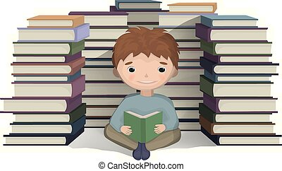 Boy reading a bunch of books Vector. knowledge symbols