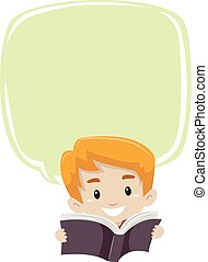 Boy Reading Book with Blank Bubble