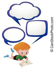 Kid Reading And Thinking Clipart
