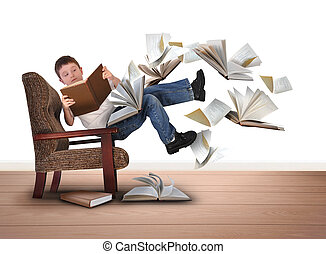 Boy Reading Flying Books in Chair on White - A young boy is...