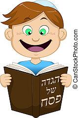 Boy Reading From Haggadah For Passover - Vector illustration...