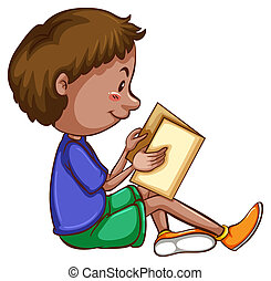 Boy reading - Illustration of a boy reading a book