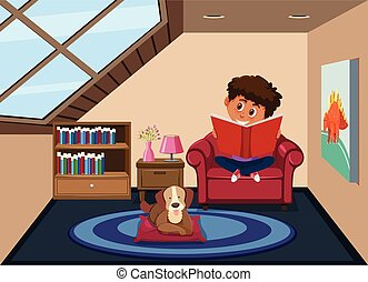 Boy reading in room