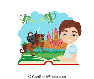 boy reading magic book