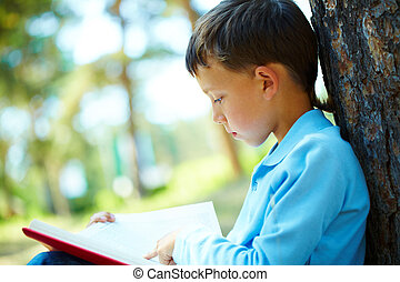 Boy reading - Portrait of smart boy sitting by tree trunk in...