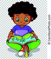 Boy reading storybook on transparent background
