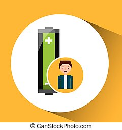 boy recycle ecology icon battery