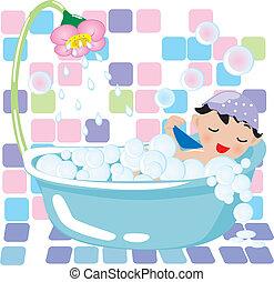 boy relaxing in a bubble bath