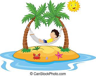 Boy relaxing in a hammock - vector illustration of Boy...