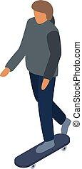 Boy ride on skateboard icon, isometric style