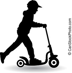 boy rides scooter vector illustration