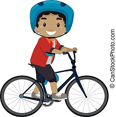 Boy riding a Bicycle - Vector Illustration of a Boy riding a...