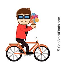 Boy Riding a Bicycle with Flowers
