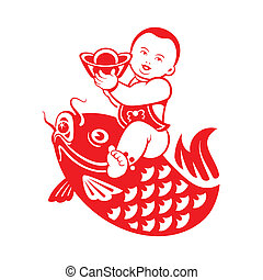 Boy riding a carp - Chinese New Year postcard with chubby...