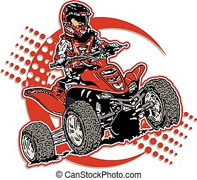 four wheeler - boy riding a four wheeler design