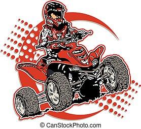 boy riding a four wheeler design
