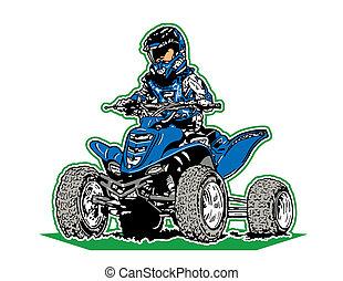 boy riding a four wheeler