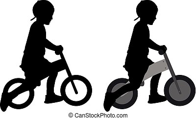 boy riding a pushbike silhouette - vector