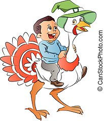 Boy Riding a Turkey, illustration