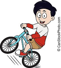 boy riding bicycle cartoon illustra