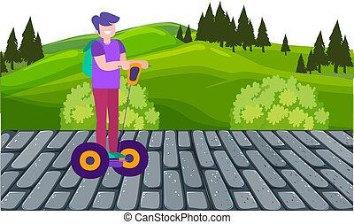 boy riding electric vehicle in a garden