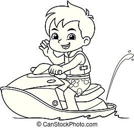 Boy Riding Jetski On The Beach BW.