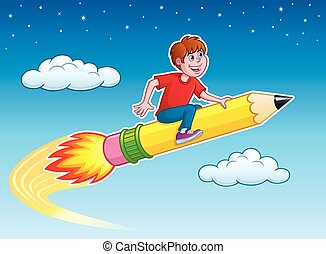 Boy Riding On A Rocket Pencil