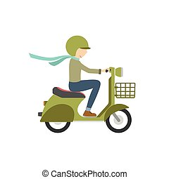 Boy riding on a scooter . Illustration in flat style on a white background