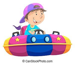 Boy riding on bump car