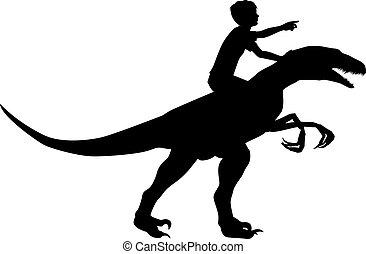 Boy riding raptor - Editable vector silhouette of a boy ...