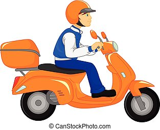 boy riding scooter - vector illustration of boy riding...