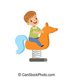 Boy riding spring horse see saw, kid having fun on playground vector Illustration on a white background