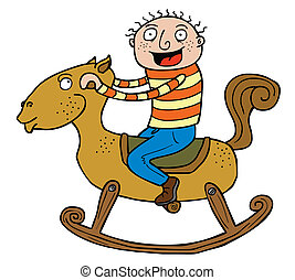boy & Rocking Horse - The boy is really exciting riding the...