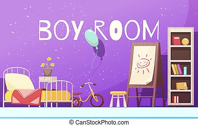 Boy Room Cartoon Illustration