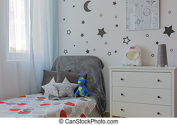 Boy room corner with bed