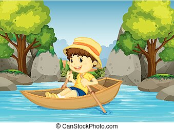 Boy rowing boat in the river