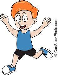 Boy run cartoon illustration