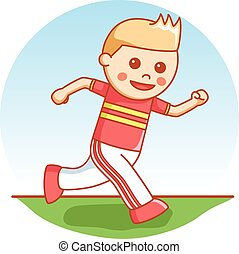 Boy runner cartoon illustration