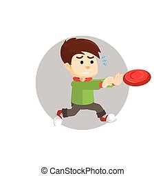 Boy running and catcth frisbee