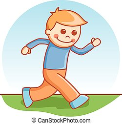 Boy running doodle cartoon