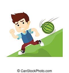 Boy running from big watermelon