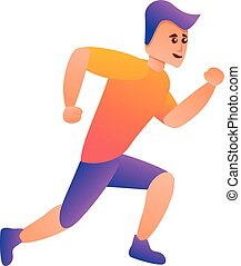 Boy running icon, cartoon style