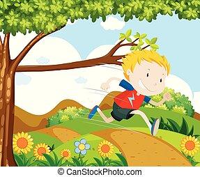 Boy running in the park
