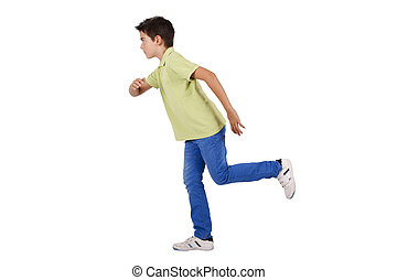 boy running isolated on white