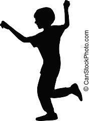 boy running silhouette vector