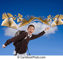 boy running to school with flying books